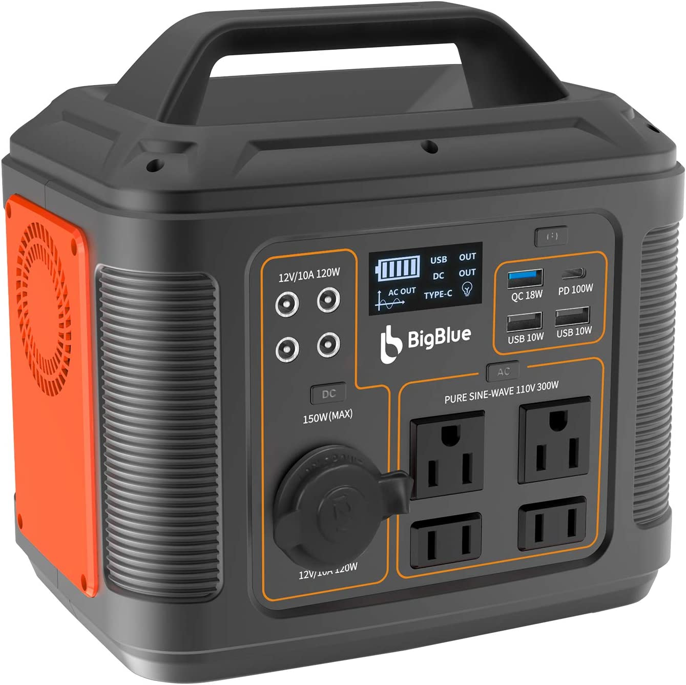 BigBlue [PD 100W Type-C] 296Wh Portable Solar Generator, 80000mAh Power Station with MPPT, 110V/300W Pure Sine Wave AC(Peak 600W)/4 DC/4 USB Ports, CPAP Backup Battery with 18W Flashlight for Camping