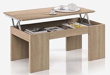 la meilleure attitude 0a9da ddf66 PEGANE Table Basse à Plateau Relevable Coloris chêne Canadien - Dim : 100 x  50 x 42 cm