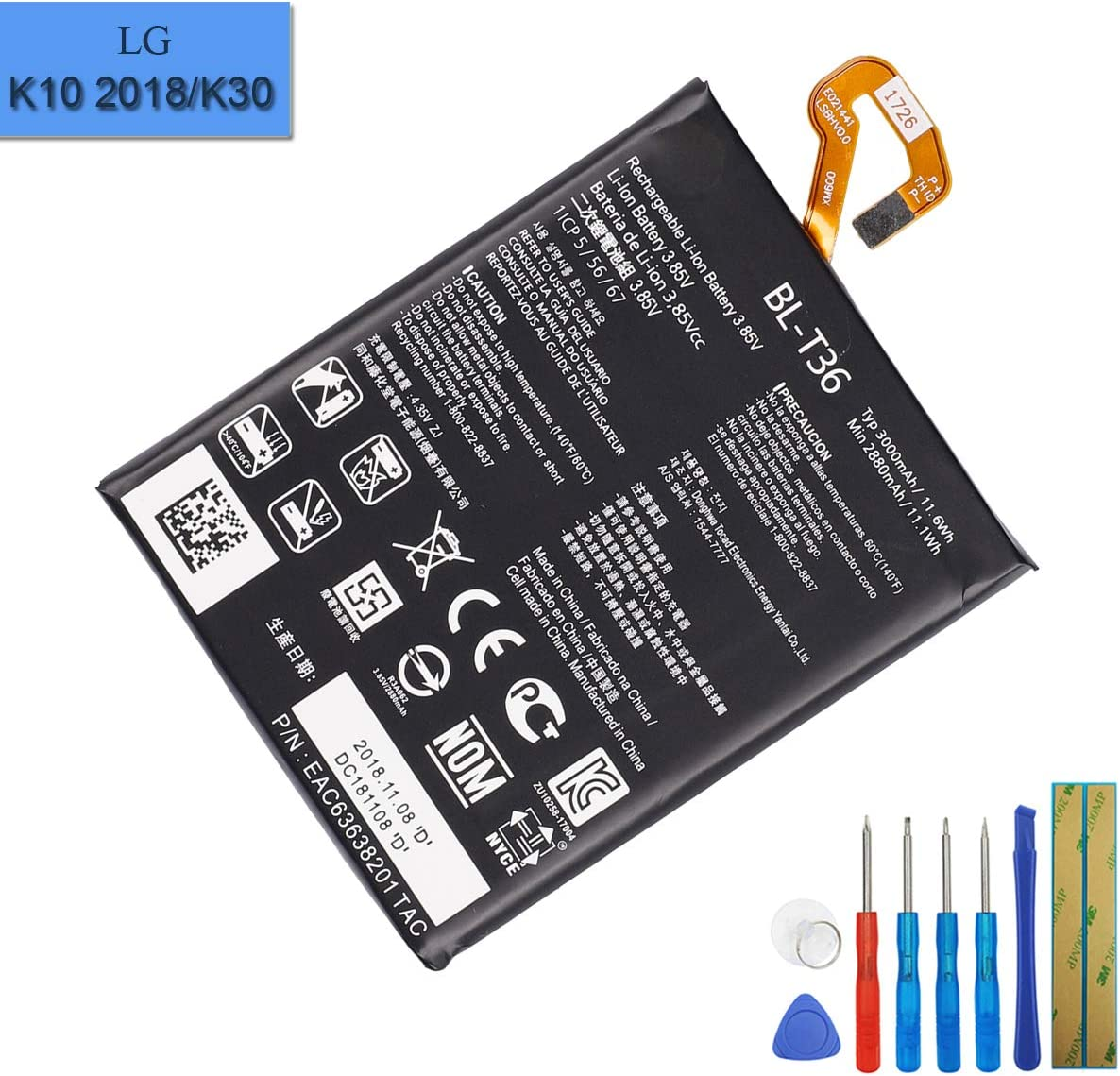 Li-Polymer Replacement Battery BL-T36 Compatible with LG K10 2018 K30 K11 2018 X410 X410AS X410E X410X with Tool