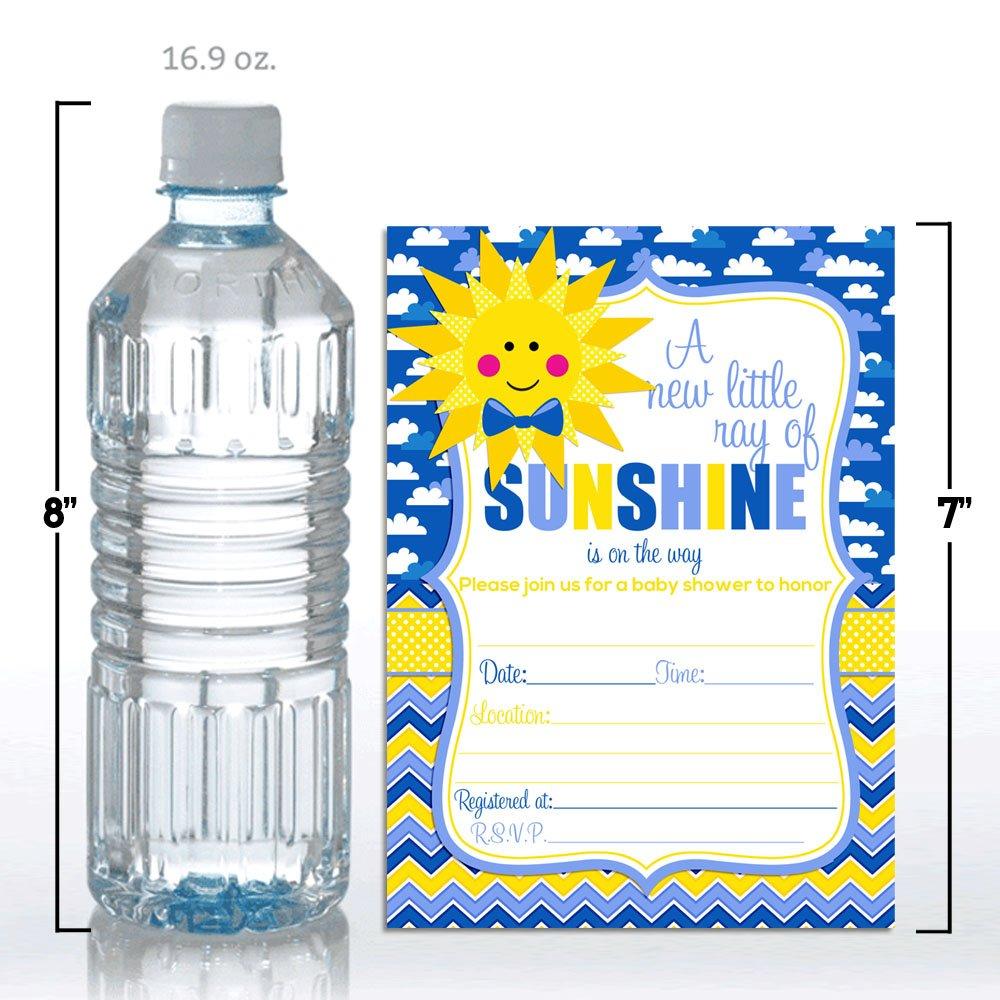 Amanda Creation Ray of Sunshine Boy Baby Shower Fill in Invitations Set of 20 Including envelopes