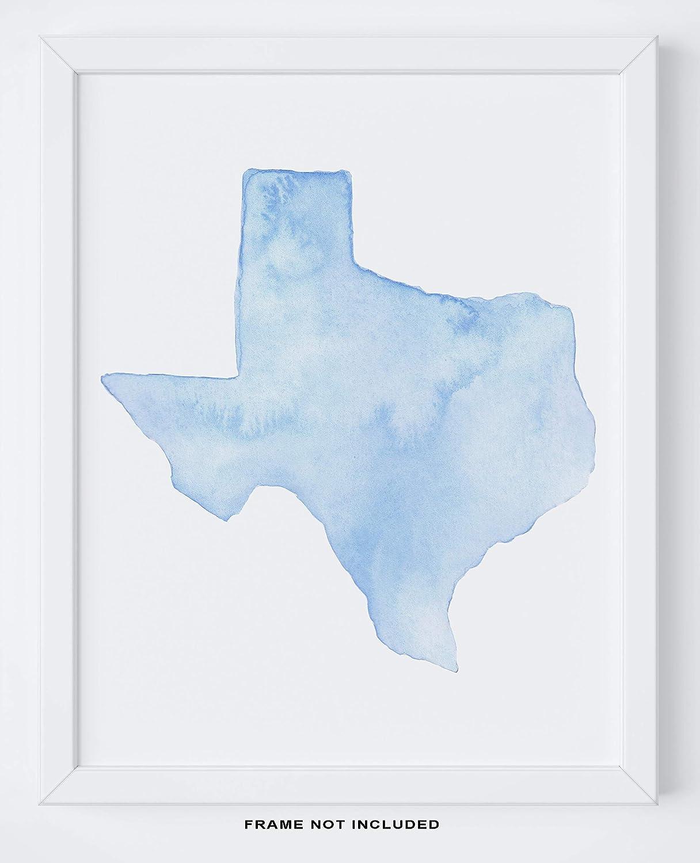 "Texas Map Wall Art - 11x14"" UNFRAMED Print - Blue Watercolor Texas Wall Decor - Texas Gifts Under $15"