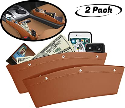 Various Cards and Keys Coins,Wallet Universal Center Console Car Storage Box for Phone Car Seat Gap Filler Organizer Sunglasses 2 Pack PU Leather Car Seat Pocket Organizer