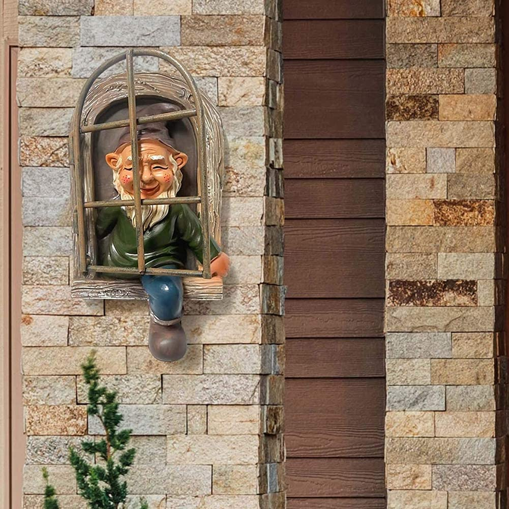 Yisily Elf aus der T/ür Baum Hugger Gartenzwerg Zwerg Figur Dekorative Ornament Miniatur Resin Geburtstags-Geschenke f/ür Kinder im Freien