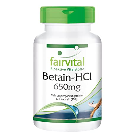 Betaína HCL 650 mg - 1 mes - dosis alta - VEGAN - 120 cápsulas -