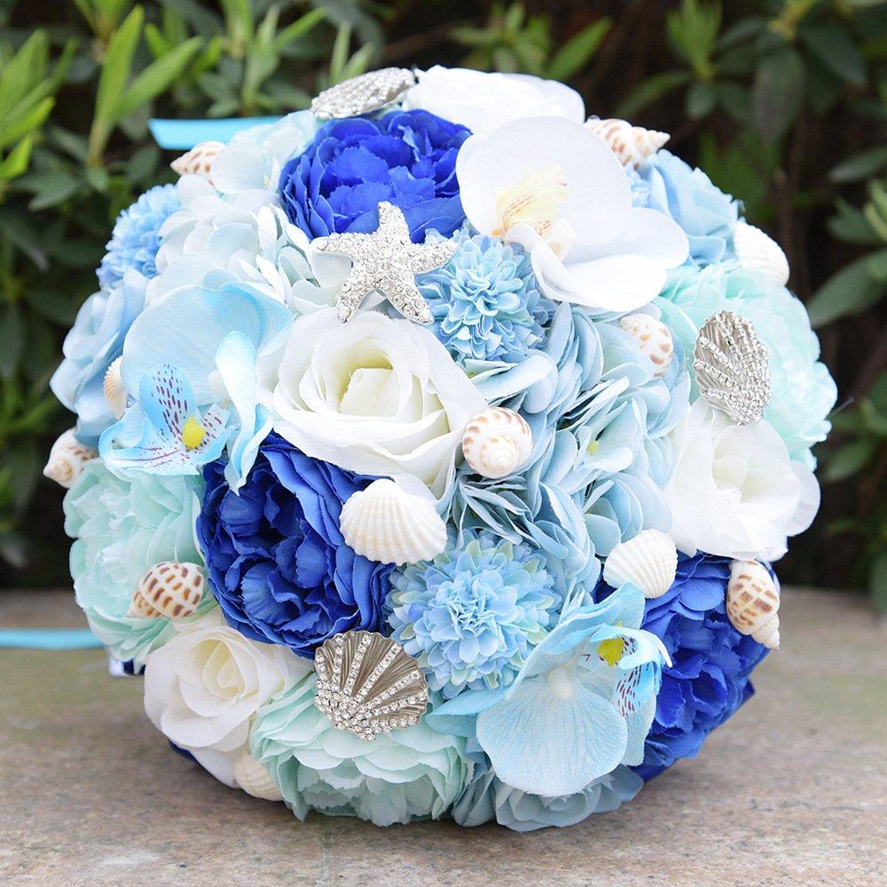 Amazon Zebratown 95 Seashell Wedding Bouquet Silk Roses