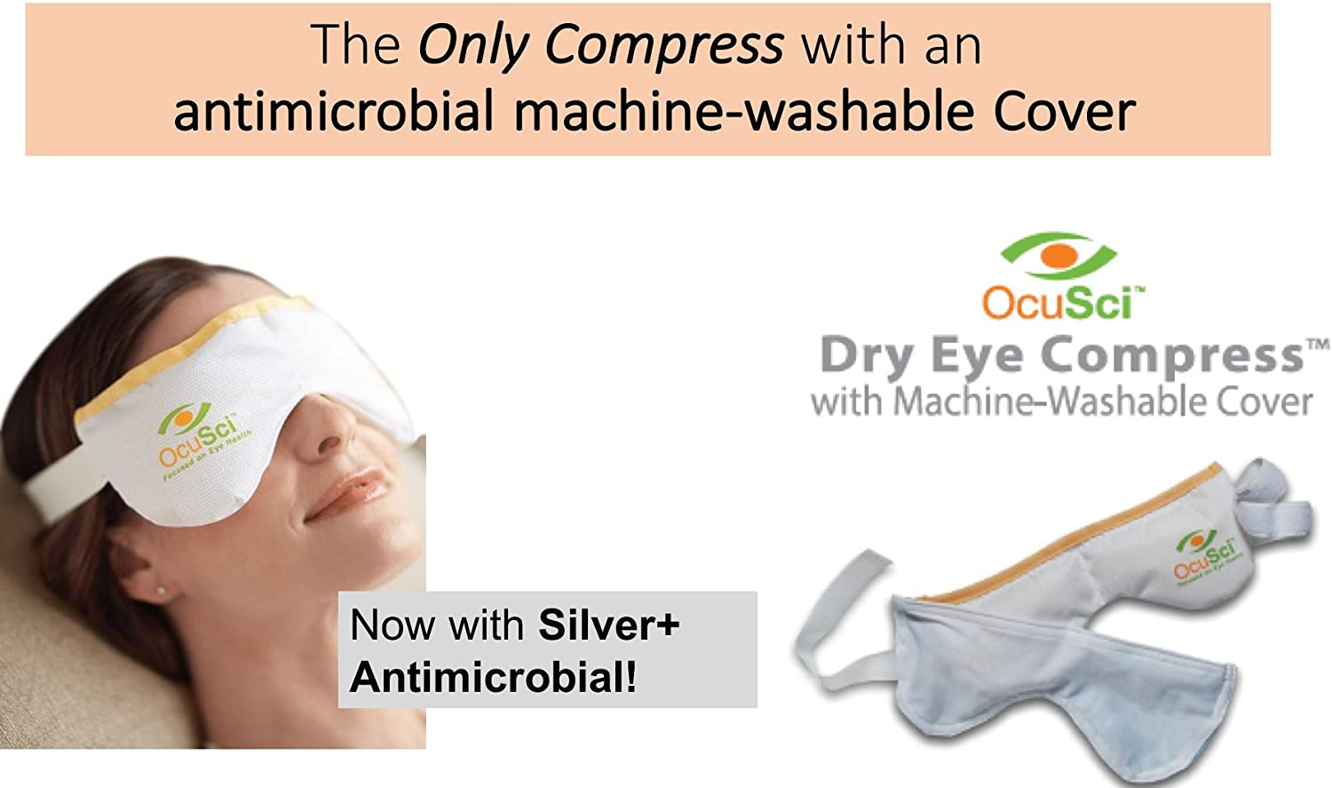 Dry Eye Compress With HydroHeat Machine Washable Cover, Save 40%, Microwave for Moist Heat Therapy or Freeze for Cold Therapy to Treat: Dry Eye Syndrome, TMJ, Sinus Pressure, Stress.