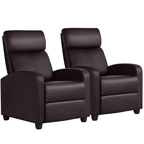 Yaheetech Leather Home Theater Seating Single Recliner Chair Wingback Rceliner Sofa Lazy Boy Recliners Row of 2, Brown