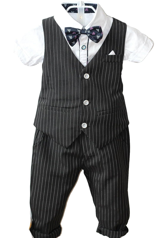 Boys Pinstripe Vest Set Vest + Pants + Shirt 3 Pieces Black & Blue 2 Colors