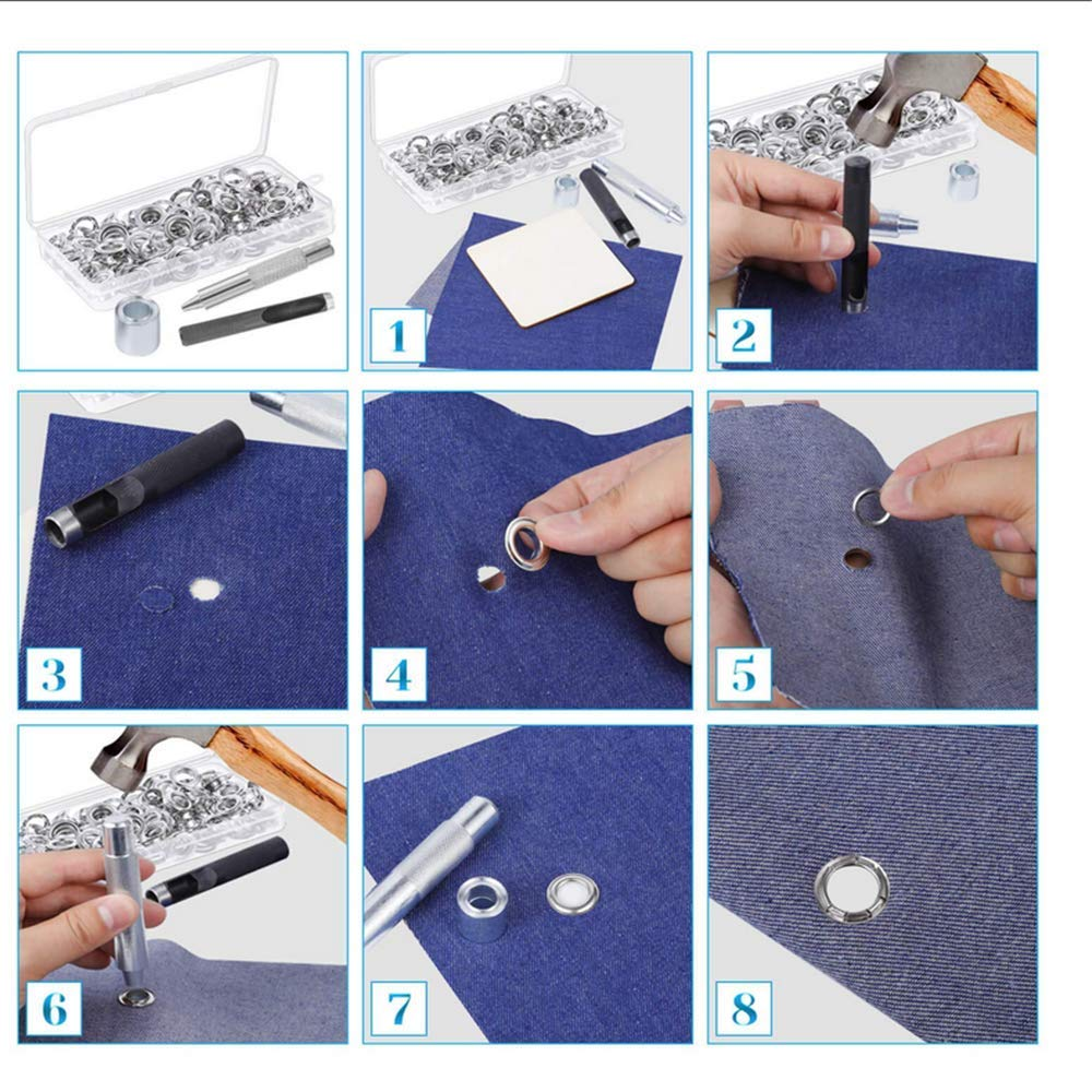 100 Set Grommet Tool Kit with 3 Pcs Grommet Setting Tool Grommets Eyelets with Storage Box