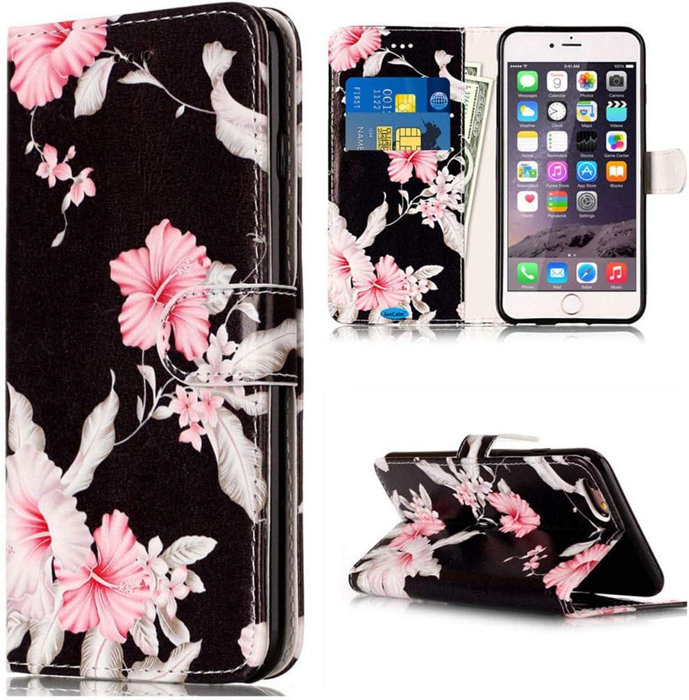 JanCalm Case for 6S Plus,iPhone 6S Plus Wallet Case,iPhone 6 Plus Case, [Kickstand] Pattern Premium PU Leather [Card/Cash Slots] Flip Cover for iPhone 6/6S Plus + Crystal Pen (Black/Flower)