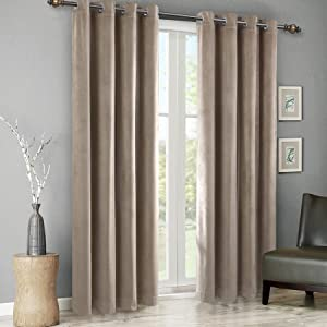 SINGINGLORY Taupe Velvet Curtains 52 x 96 Inch Blackout Grommet Window Curtains 2 Panels Set for Bedroom and Living Room (W52 xL96, Taupe)