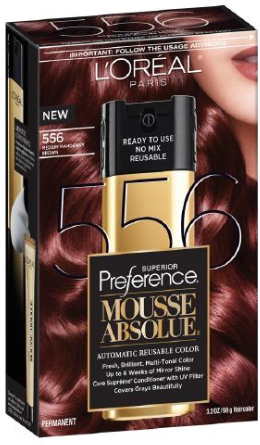 L'Oreal Paris Superior Preference Mousse Absolue Automatic Reusable Color, Medium Mahogany Brown [556] 3.2 oz (Pack of 2)