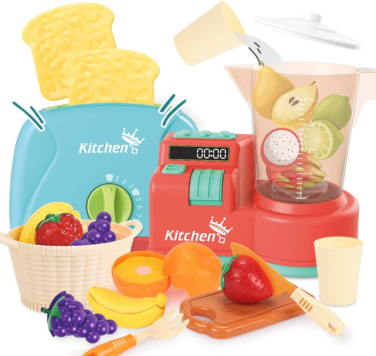 REMOKING Kitchen Play Toy Sets, Educational Learning Pretend Kitchen Juice Blender,Toaster, Utensils, Cutting Fruits Set , Kitchen Accessories for Kids, Great Gifts for Kids 3 Years and up