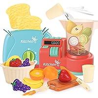 KaeKid Kitchen Toys Playset, Pretend Play Food Kitchen Juice Blender, Toaster, Utensils, Cutting Fruits Set , Kitchen…