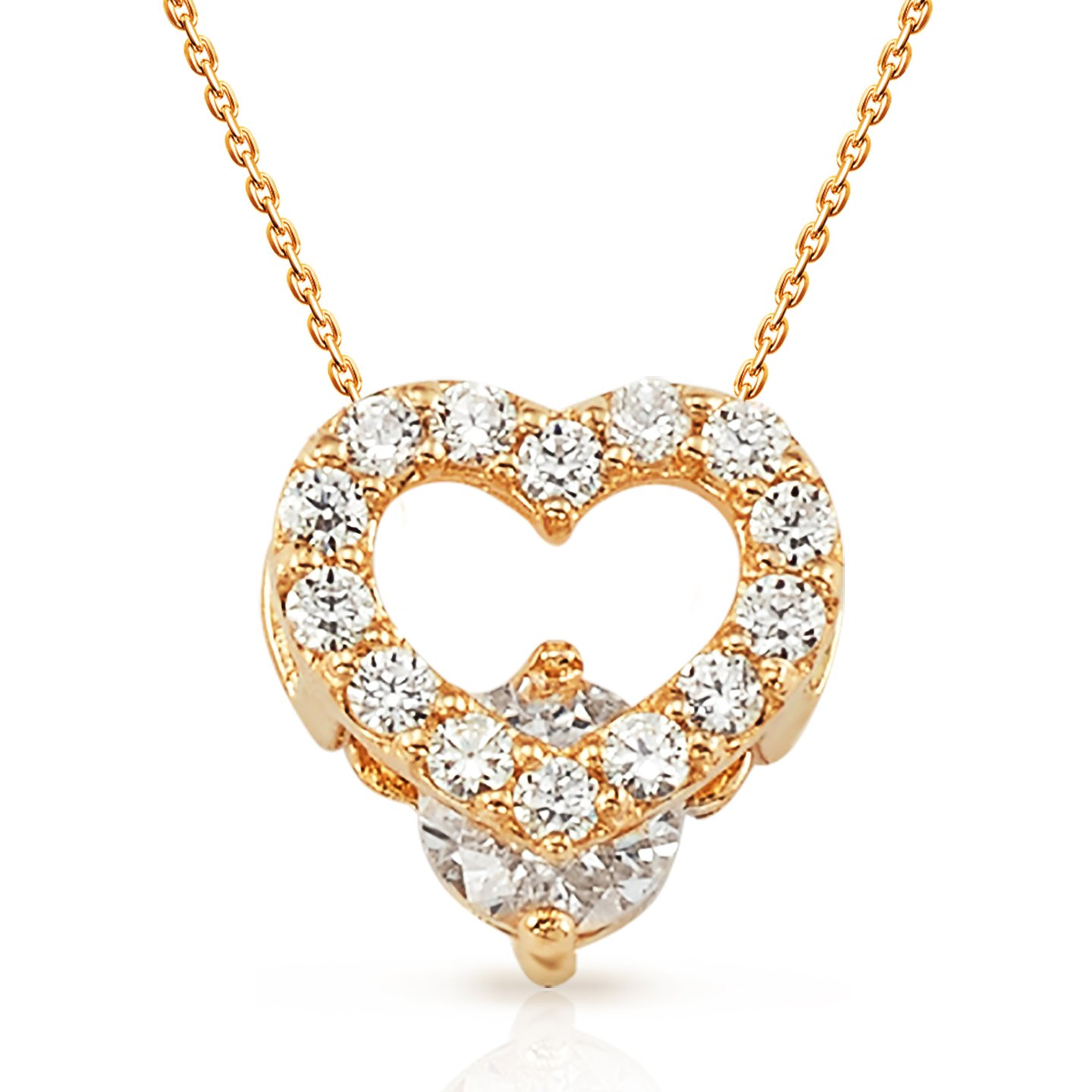 Petite Heart Box CZ Pendant With 18'' Chain in 14K yellow Gold