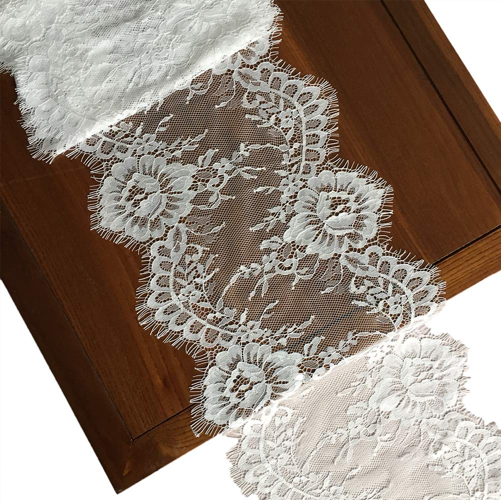 LaceRealm 9 Inch Wide Eyelash Lace Fabric Floral Pattern Lace Trims for Sewing Dress Home Decor Fabric /& Textile Paints White