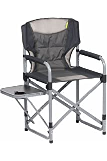 HIGHLANDER COMPACT STEEL CAMPING DIRECTORS CHAIR WITH SIDE TABLE
