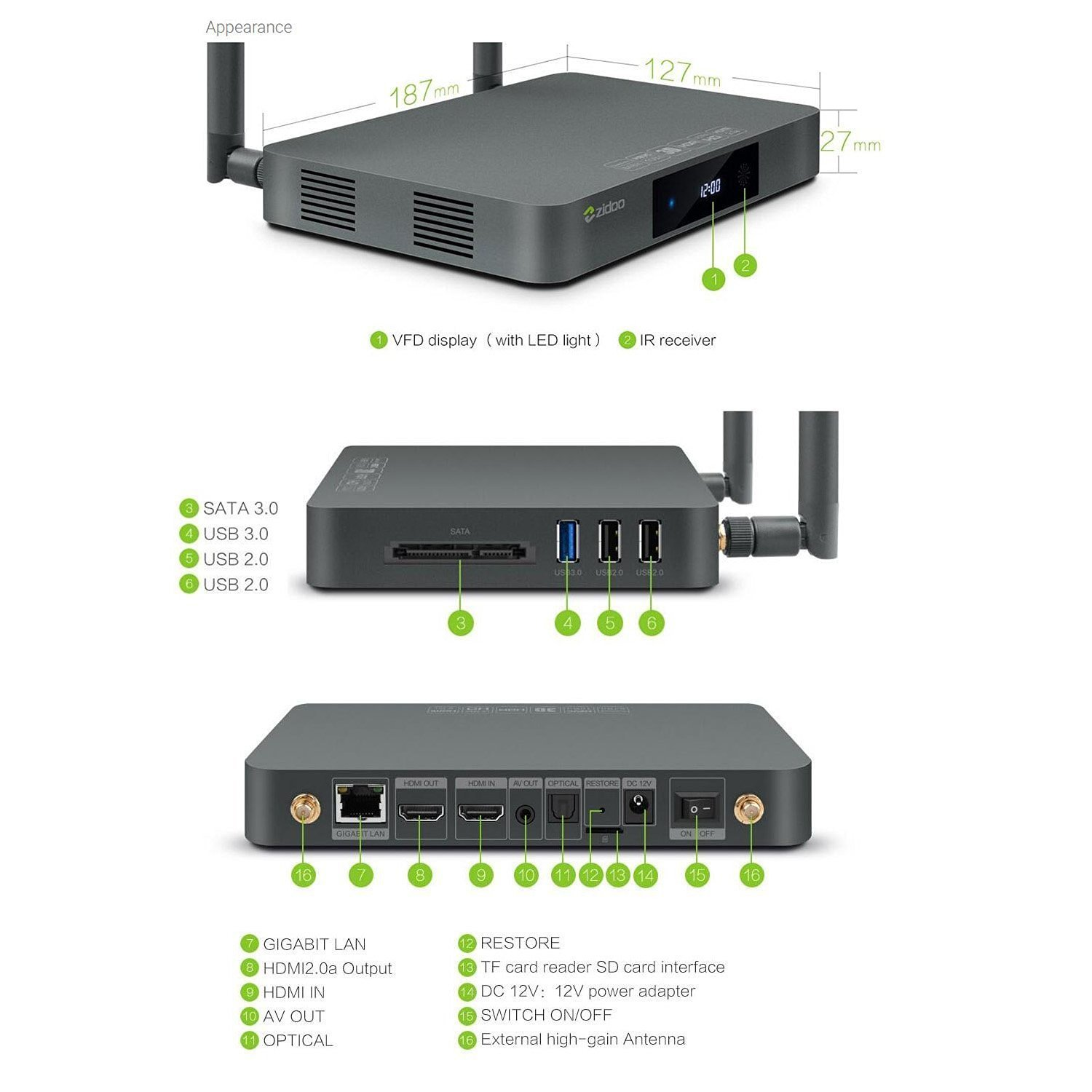 Zidoo X9S Android TV Box Android 6 0 Quad Core 2G: Amazon in