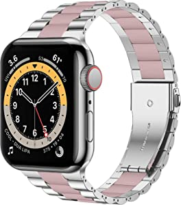 iiteeology Compatible with Apple Watch Band 44mm 42mm, Resin Stainless Steel Metal Link Wristbands for iWatch SE Series 6 5 4 3 2 1 - Silver+Pink