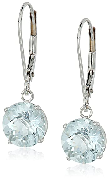 10k Gold Round Checkerboard Created Or Genuine Gemstone Leverback Earrings by Amazon Collection