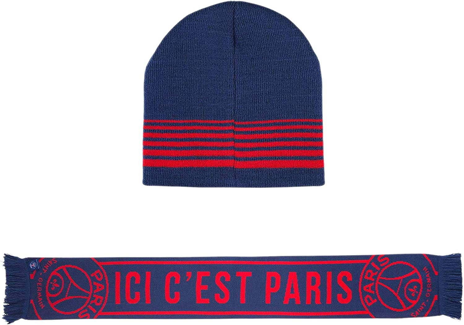 Psg Official Paris Saint Germain Beanie And Scarf Gift Box Blue At Amazon Men S Clothing Store