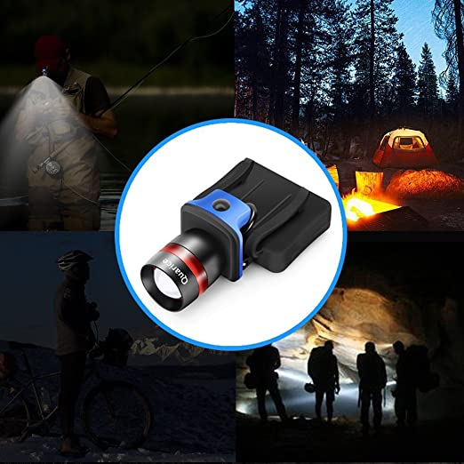 Quarice®Linterna Frontal de Gorra [LED Cree XP-E 250lm Enfocable ...