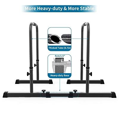 Portable Body Press Bar with Safety Connector and Push Up Handle Grip Segteckric Strength-Training Dip-Bar Station Stand Home Gym Adjustable Parallel Bars Fitness Equipment