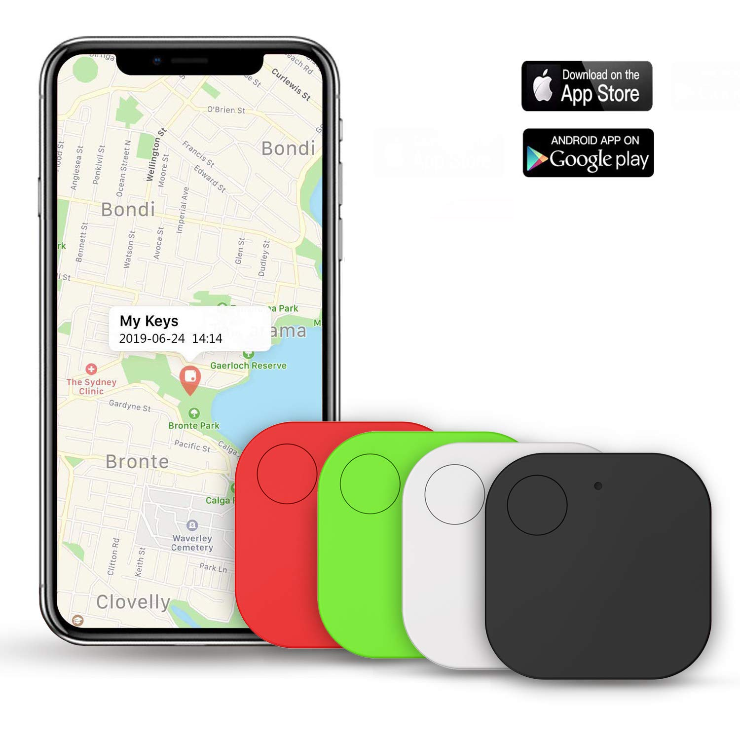 Kimfly Key Finder Item Finder Smart Tracker, Phone Finder, Bluetooth Tracker with Replaceable Battery- 4Pack by Kimfly