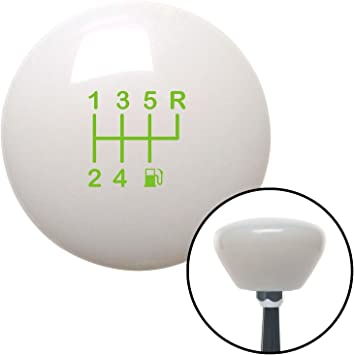 Green 6 Speed Shift Pattern - Gas 26 White Retro with M16 x 1.5 Insert American Shifter 280497 Shift Knob