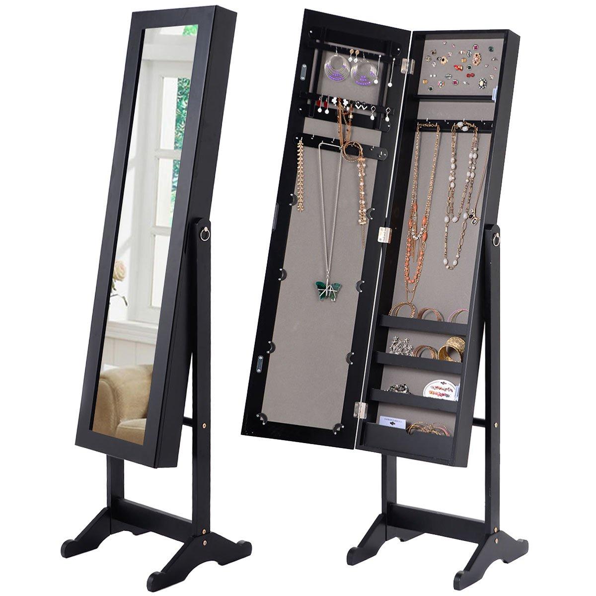 COSTWAY Schmuckschrank Standspiegel Spiegelschrank Schmuckkasten Schmuck 34 x 36 x 145cm schwarz weiß (Schwarz)
