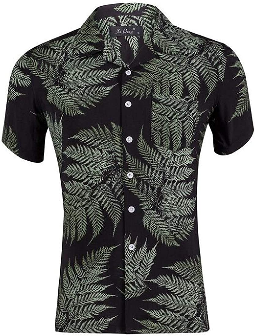 Zantt Mens Lapel Relaxed Fit Summer Print Beach Short Sleeve Button Down Shirt
