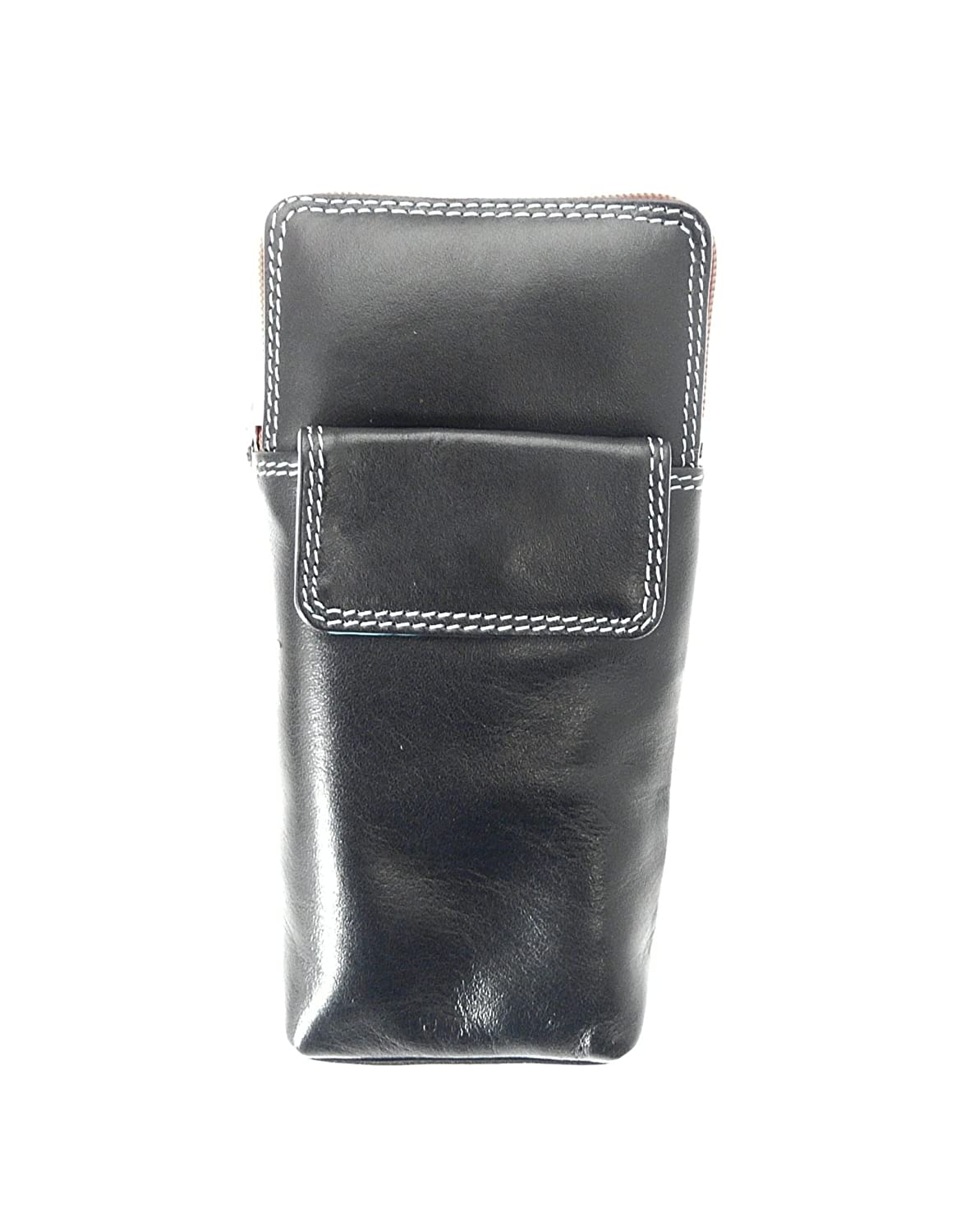 High Quality Soft Leather Spectacle / Glasses Case Holder. Black & Multi Colour.