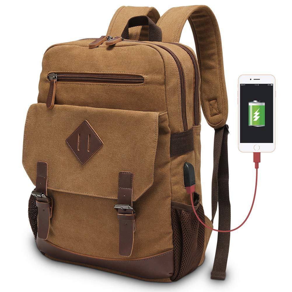 Vintage Backpack for Men, Modoker Canvas Leather Laptop School Backpack College Bookbag with USB Charging Port, Multipurpose Travel Vegan Rucksack Daypack Computer Bag Fits 15.6 inch Brown by Modoker