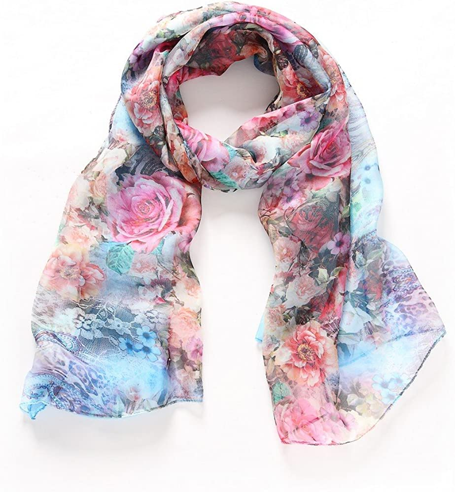 Sheer Soft Silk Scarf Half Size Sarong Wrap in Roses and Laces Blue Purple
