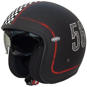 Premier Jet - Casco de motocicleta, diseño vintage, color negro mate