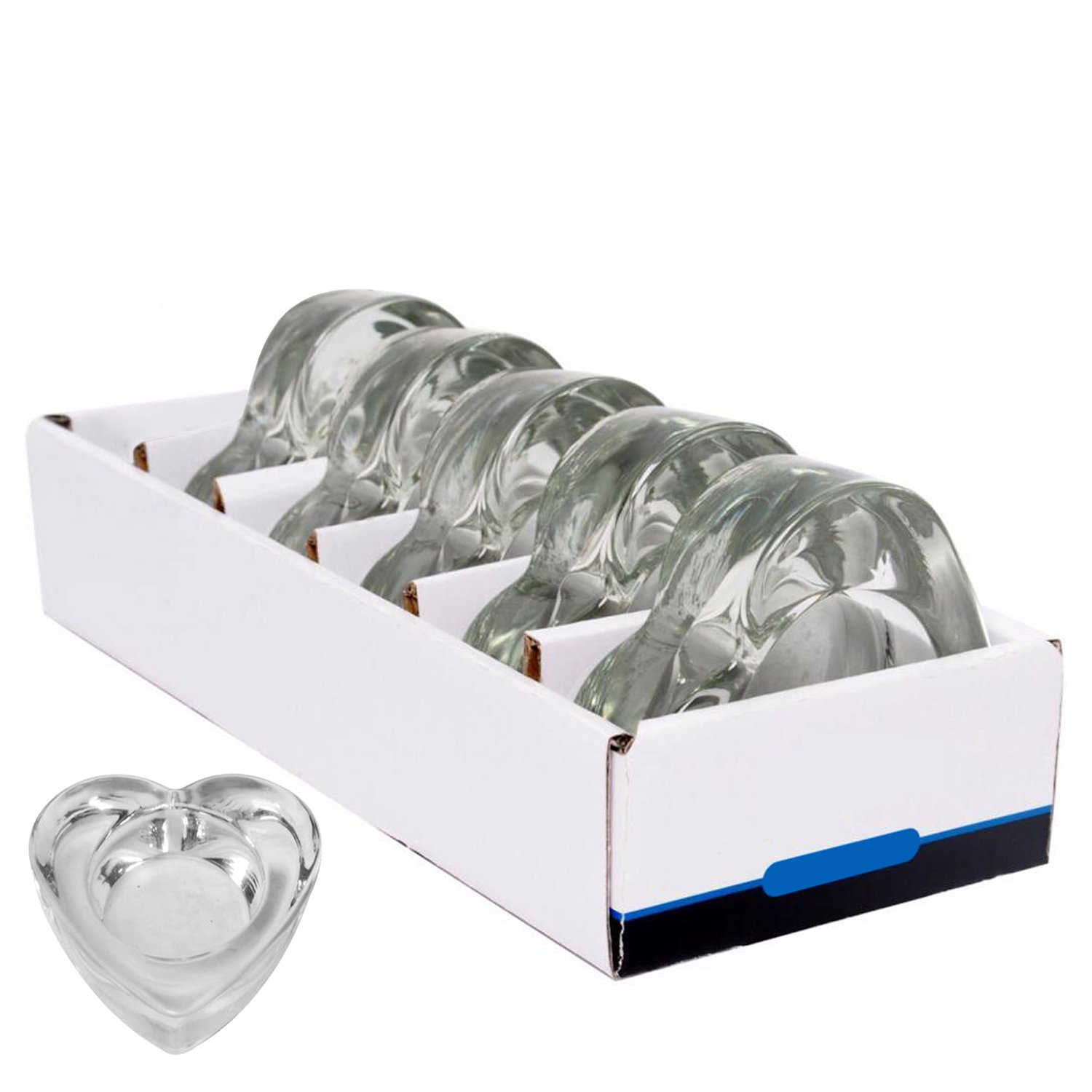 Hosley's Set of 6 Chunky Clear Glass Tea Light Holders. Heart Shape, Ideal Gift for Weddings, Party, Votive Candle Gardens, spa, aromatherapy, Valentine, Country Bulk Buy O7 HG Global