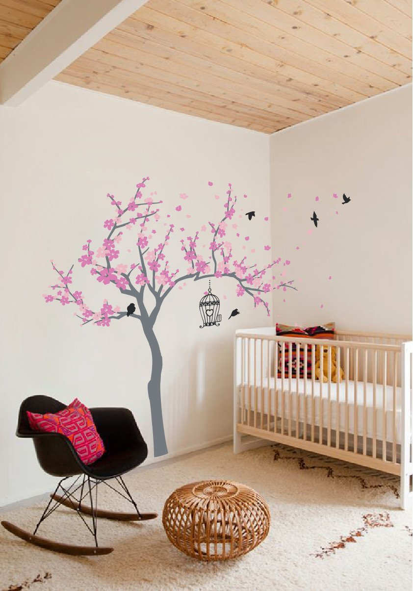 Japanese Cherry Blossom Birdhouse and Tree Large Wall Decal Sticker DIY Nursery Room Decor Art, Shades of Pink, 72x92 inches by The Decal Guru (Image #3)