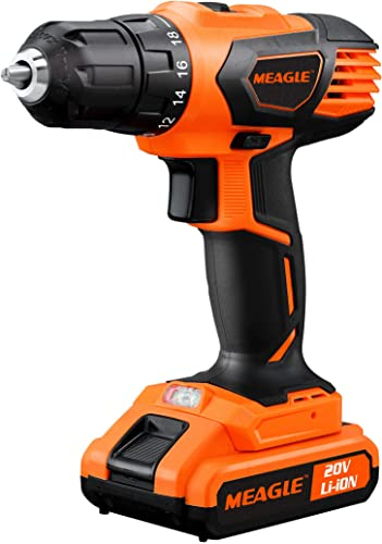 Meagle 20V Lithium-Ion Cordless Drill Driver – 3 8 Metal Chuck – 2-Speed Max Torque 310 In-lbs – 18 1 Torque Setting – 1 Hour Fast Charger – CD08-2200