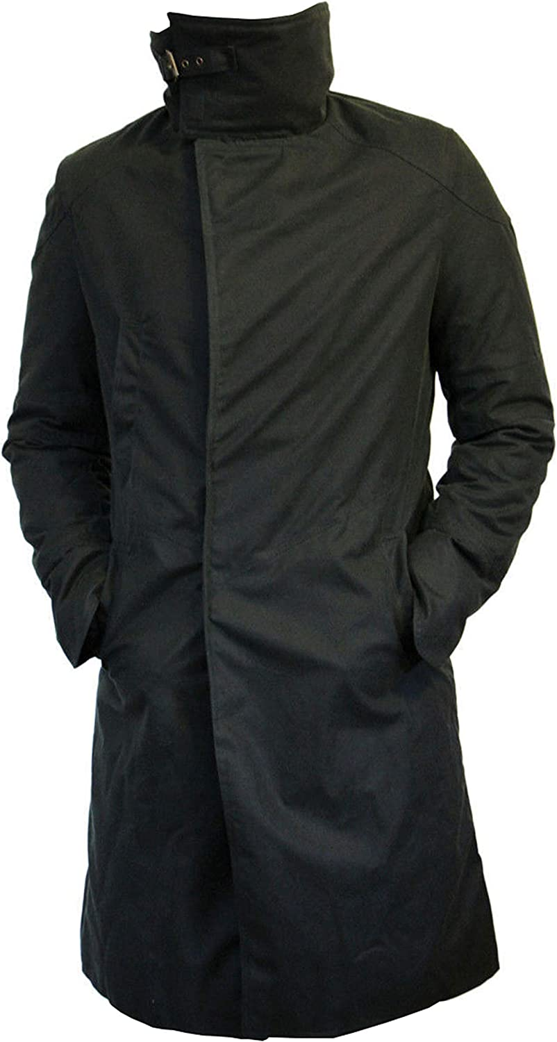 Trench Coat for Mens Blade Officer Waxed Cotton Black Coat