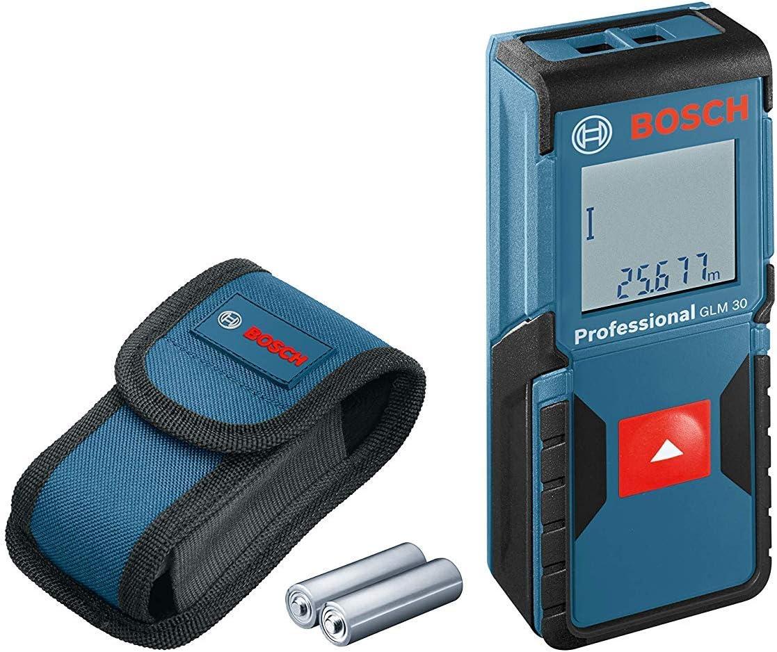 Bosch Professional Medidor láser de distancia GLM 30 (uso con un solo botón, máx. distancia: 30 m, 2 pilas de 1,5 V, funda)