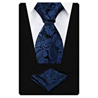 Alizeal Handmade Paisley Floral Tie with Pocket Square Set