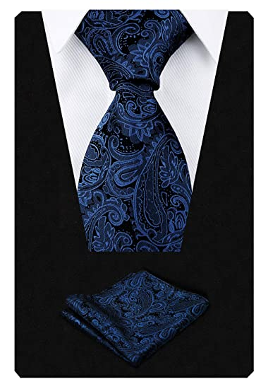 93bb3e8b16cd Alizeal Men's Paisley Floral Tie Handkerchief Wedding Woven Necktie Set,  Navy