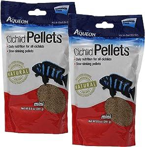 Aqueon 06181 Cichlid Food Mini Pellets, 2 Packs of 8.5 Ounces