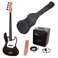 Lindo High Gloss Semi-transparent Black ZJB Series Electric Bass Guitar & EBG15-FP Amplifier Pack