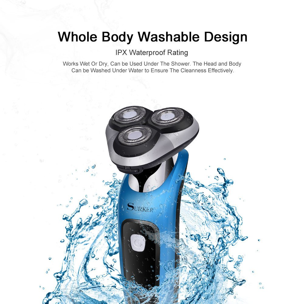 SURKER Electric Shaver Rotary Shaver Wet and Dry 3 in 1 With Nose Trimmer  and Sidebums Razor Waterproof Black Blue - RSCX-9598   Rotary Shavers    Beauty ... 8fd6d48530