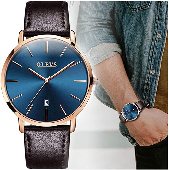 Mens Ultra Thin Fashion Minimalist Wrist Watches and Luxury Leather Watches - Waterproof Quartz Casual Watch Simple Leather Band Watch Mens