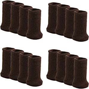 Outgeek Furniture Socks 16 Pcs Chair Leg Socks Anti-Skid Wool Knitted Chair Leg Floor Protector Thick Bottom Furniture Leg Covers (Dark Brown)