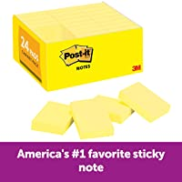 Post-it Mini Notes, 1.5 in x 2 in, 24 Pads, America's #1 Favorite Sticky Notes, Canary Yellow, Clean Removal, Recyclable (653-24VAD)