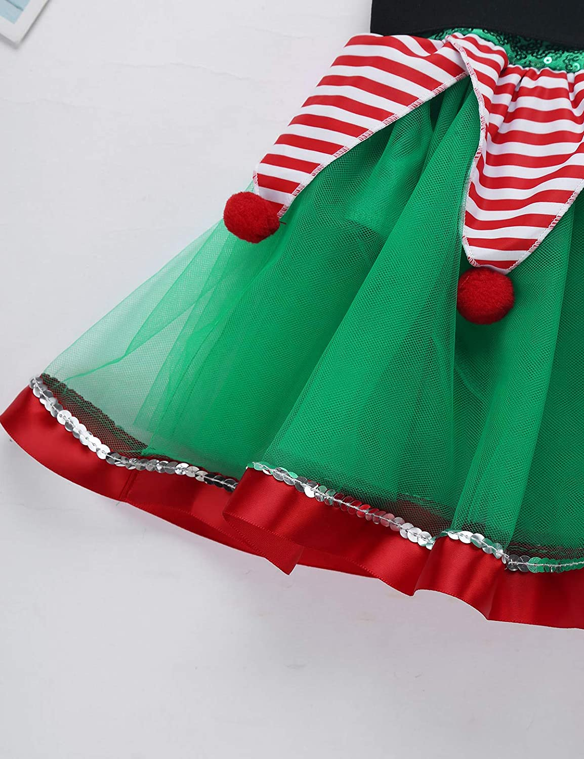 moily Little Girls Santa Claus Spirirt Costume Sequined Tutu Dress for Christmas Halloween Party Dancewear