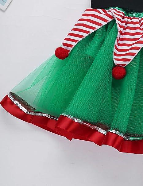 iiniim Niña Disfraz de Elfo Vestido de Elfa Duende con ...